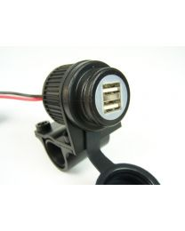 Dual USB socket for motorbikes 12-24V. for 22 mm / 25 mm handlebar