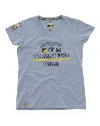"T-shirt ""Adventure Equipment"". women. bright blue size:s"