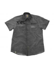 "Short sleeved ""1990"" shirt men. grey. size L"