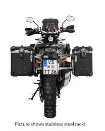 "ZEGA Evo aluminium pannier system ""And-Black"" 38/45 litres with stainless steel rack. black for KTM 1050 Adventure/1090 Adventure/1290 Super Adventure/1190 Adventure/1190 Adventure R"