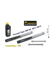 Height lowering kit. 30mm. for Triumph Tiger 800 2011-2014 *replacement springs and reversing lever*