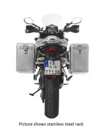 ZEGA Mundo aluminium pannier system 38/38 litres with stainless steel rack black for Ducati Multistrada up to 2014