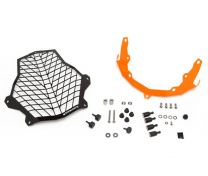 Touratech Stainless steel black headlight protector with quick release fasteners. orange bracket. for KTM 1050 Adventure/ 1090 Adventure/ 1190 Adventure/ 1190 Adventure R/ 1290 Super Adventure