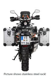 """ZEGA Evo aluminium pannier system """"And-S"""" 31/38 litres with stainless steel rack. black for KTM 1050 Adventure/1090 Adventure/1290 Super Adventure/1190 Adventure/1190 Adventure R"""