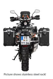 """ZEGA Evo aluminium pannier system """"And-Black"""" 31/38 litres with stainless steel rack. black for KTM 1050 Adventure/1090 Adventure/1290 Super Adventure/1190 Adventure/1190 Adventure R"""