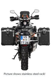 """ZEGA Evo aluminium pannier system """"And-Black"""" 38/45 litres with stainless steel rack. black for KTM 1050 Adventure/1090 Adventure/1290 Super Adventure/1190 Adventure/1190 Adventure R"""