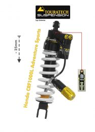 Touratech Suspension lowering shock (-25 mm) for Honda CRF1000L Adventure Sports from 2018 Type Extreme