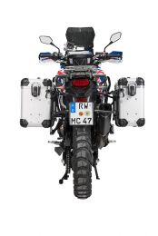 """ZEGA Evo aluminium pannier system """"And-S"""" 31/38 litres with stainless steel rack. black for Honda CRF1000L Africa Twin (2015-2017)"""