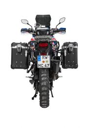 """ZEGA Evo aluminium pannier system """"And-Black"""" 31/38 litres with stainless steel rack. black for Honda CRF1000L Africa Twin (2015-2017)"""