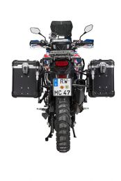 """ZEGA Evo aluminium pannier system """"And-Black"""" 38/45 litres with stainless steel rack. black for Honda CRF1000L Africa Twin (2015-2017)"""