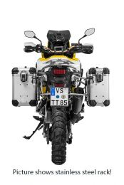 """ZEGA Evo aluminium pannier system """"And-S"""" 31/38 litres with stainless steel rack. black for Honda CRF1000L Africa Twin (2018-) / CRF1000L Adventure Sports"""