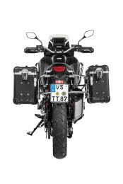 """ZEGA Evo aluminium pannier system """"And-Black"""" 31/38 litres with stainless steel rack for Honda CRF1100L Africa Twin"""