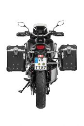 """ZEGA Evo aluminium pannier system """"And-Black"""" 38/45 litres with stainless steel rack for Honda CRF1100L Africa Twin"""