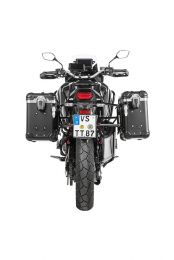 """ZEGA Evo aluminium pannier system """"And-Black"""" 31/38 litres with stainless steel rack black for Honda CRF1100L Africa Twin"""