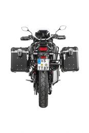 """ZEGA Evo aluminium pannier system """"And-Black"""" 38/45 litres with stainless steel rack black for Honda CRF1100L Africa Twin"""