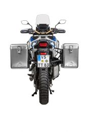 ZEGA Mundo aluminium pannier system 38/45 litres with stainless steel rack black for Honda CRF1100L Adventure Sports