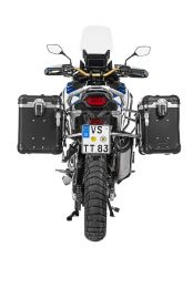 """Touratech ZEGA Evo aluminium pannier system """"And-Black"""" 38/45 litres with stainless steel rack for Honda CRF1100L Adventure Sports"""