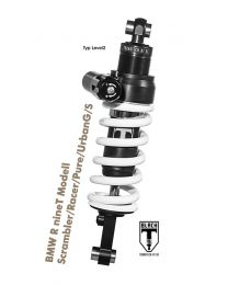 Touratech BLACK-T shock absorber for BMW R nineT Modell Scrambler/Racer/Pure/UrbanG/S from 2016 Type Level2
