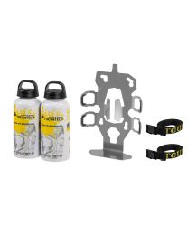 "ZEGA Evo accessory holder ""bottle holder"" double with 2x Touratech aluminum bottle 0.6 litres"
