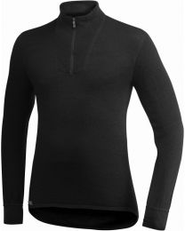 WOOLPOWER Ullfrotte Unisex turtleneck with Zipper 200 g. black. size S