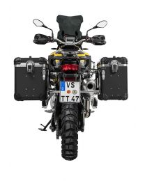 """ZEGA Evo aluminium pannier system """"And-Black"""" 38/45 litres with stainless steel rack for BMW F850GS/ F850GS Adventure/ F750GS"""