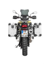 """ZEGA Evo aluminium pannier system """"And-S"""" 31/38 litres with stainless steel rack. black for BMW F850GS/ F850GS Adventure/ F750GS"""