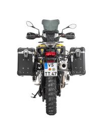 """ZEGA Evo aluminium pannier system """"And-Black"""" 31/38 litres with stainless steel rack. black for BMW F850GS/ F850GS Adventure/ F750GS"""