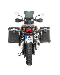 """ZEGA Evo aluminium pannier system """"And-Black"""" 38/45 litres with stainless steel rack. black for BMW F850GS/ F850GS Adventure/ F750GS"""