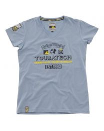 "T-shirt ""Adventure Equipment"". women. bright blue"