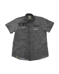 "Short sleeved ""1990"" shirt men. grey. size XL"