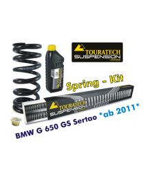 Touratech Progressive replacement springs for fork and shock absorber. BMW G650GS Sertao from 2011 replacement springs