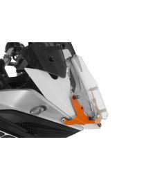 Makrolon headlight protector with quick release fasteners. orange bracket. for KTM 1050 Adventure/ 1090 Adventure/ 1190 Adventure/ 1190 Adventure R/ 1290 Super Adventure