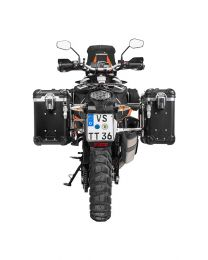 """ZEGA Evo aluminium pannier system """"And-Black"""" 31/38 litres with stainless steel rack for KTM 1050 Adventure/1090 Adventure/1290 Super Adventure/1190 Adventure/1190 Adventure R"""