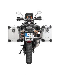 """ZEGA Evo aluminium pannier system """"And-S"""" 38/45 litres with stainless steel rack for KTM 1050 Adventure/1090 Adventure/1290 Super Adventure/1190 Adventure/1190 Adventure R"""