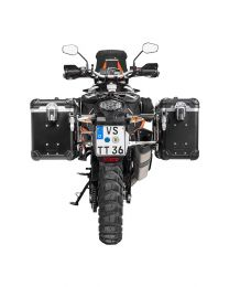 """ZEGA Evo aluminium pannier system """"And-Black"""" 38/45 litres with stainless steel rack for KTM 1050 Adventure/1090 Adventure/1290 Super Adventure/1190 Adventure/1190 Adventure R"""