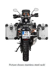 """ZEGA Evo aluminium pannier system """"And-S"""" 38/45 litres with stainless steel rack. black for KTM 1050 Adventure/1090 Adventure/1290 Super Adventure/1190 Adventure/1190 Adventure R"""
