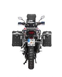 """ZEGA Evo aluminium pannier system """"And-Black"""" 31/38 litres with stainless steel rack for Honda CRF1000L Africa Twin (2015-2017)"""