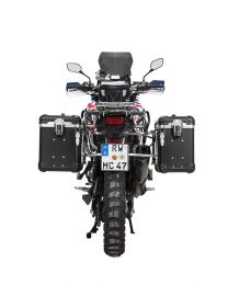"""ZEGA Evo aluminium pannier system """"And-Black"""" 38/45 litres with stainless steel rack for Honda CRF1000L Africa Twin (2015-2017)"""