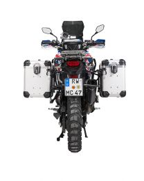 """ZEGA Evo aluminium pannier system """"And-S"""" 38/45 litres with stainless steel rack. black for Honda CRF1000L Africa Twin (2015-2017)"""