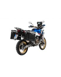 """ZEGA Pro2 aluminium pannier system """"And-Black"""" 38/45 litres with stainless steel rack for Honda CRF1000L Africa Twin (2018-) / CRF1000L Adventure Sports"""