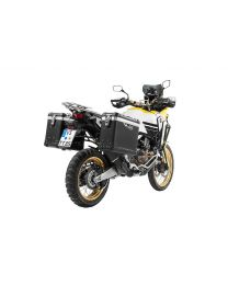 """ZEGA Pro2 aluminium pannier system """"And-Black"""" 31/38 litres with stainless steel rack. black for Honda CRF1000L Africa Twin (2018-) / CRF1000L Adventure Sports"""