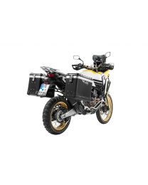 """ZEGA Pro2 aluminium pannier system """"And-Black"""" 38/45 litres with stainless steel rack. black for Honda CRF1000L Africa Twin (2018-) / CRF1000L Adventure Sports"""