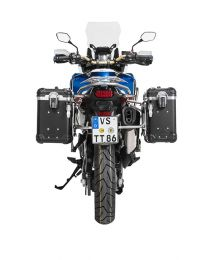 """ZEGA Evo aluminium pannier system """"And-Black"""" 31/38 litres with stainless steel rack for Honda CRF1000L Africa Twin (2018-) / CRF1000L Adventure Sports"""