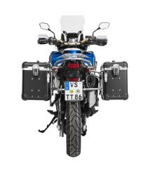 """ZEGA Evo aluminium pannier system """"And-Black"""" 38/45 litres with stainless steel rack for Honda CRF1000L Africa Twin (2018-) / CRF1000L Adventure Sports"""