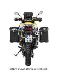 """ZEGA Evo aluminium pannier system """"And-Black"""" 31/38 litres with stainless steel rack. black for Honda CRF1000L Africa Twin (2018-) / CRF1000L Adventure Sports"""