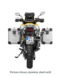 """ZEGA Evo aluminium pannier system """"And-S"""" 38/45 litres with stainless steel rack. black for Honda CRF1000L Africa Twin (2018-) / CRF1000L Adventure Sports"""