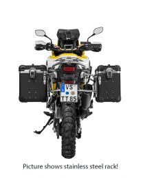 """Touratech ZEGA Evo aluminium pannier system """"And-Black"""" 38/45 litres with stainless steel rack. black for Honda CRF1000L Africa Twin (2018-) / CRF1000L Adventure Sports"""