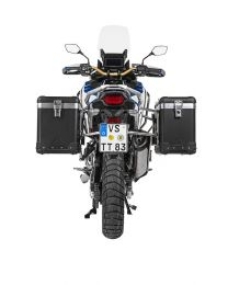 """Touratech ZEGA Pro aluminium pannier system """"And-Black"""" 38/45 litres with stainless steel rack for Honda CRF1100L Adventure Sports"""