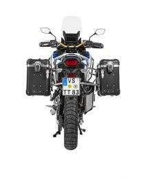 """Touratech ZEGA Evo aluminium pannier system """"And-Black"""" 31/38 litres with stainless steel rack for Honda CRF1100L Adventure Sports"""